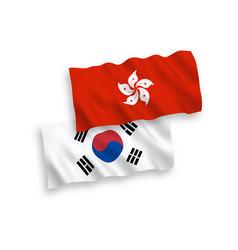 Flags south korea and hong kong on a white vector