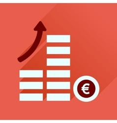 Flat icon with long shadow coins graph vector