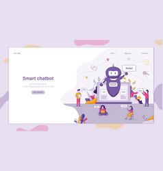 Flat smart chatbot welcomes customer vector