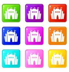 Fortress icons set 9 color collection vector