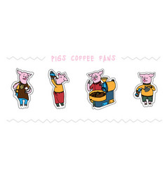 funny cute pigs with coffee set vector image
