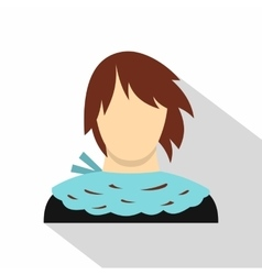 Girl with short hair icon flat style vector image