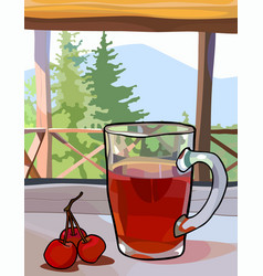 Glass cup with tea and berries on a window sill vector