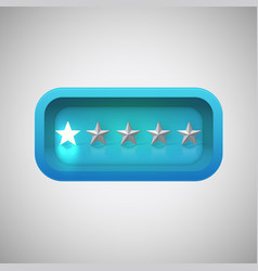 Glowing blue star rating in a realistic shiny box vector