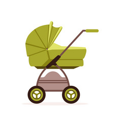 Green baby pram or stroller safe transportation vector