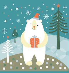 greeting card christmas card with a polar bear vector image
