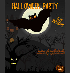 Halloween night background with creepy house bat vector