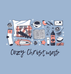 Hand drawn cozy christmas creative vector