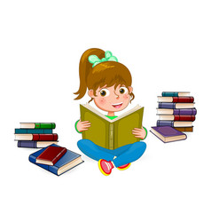 happy girl reading book 1 vector image
