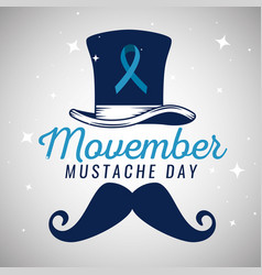 hat with blue ribbon and male mustache vector image