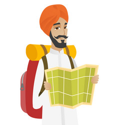 hindu traveler with backpack looking at map vector image