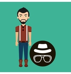 hipster style character vintage hat mustache vector image