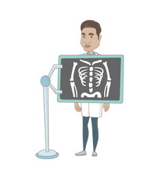 Hispanic roentgenologist during x ray procedure vector