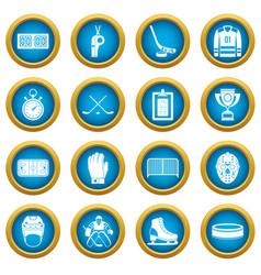 Hockey icons blue circle set vector