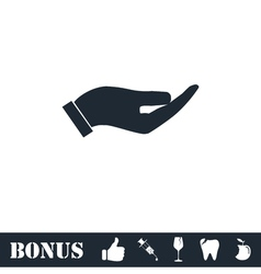 Holding palm icon flat vector image