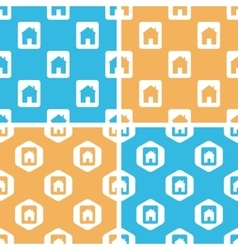 House plate pattern set colored vector