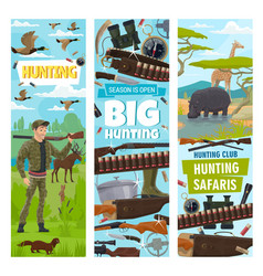 hunting sport equipment icons and hunter vector image