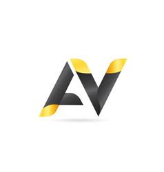 Joined or connected av a v yellow black alphabet vector
