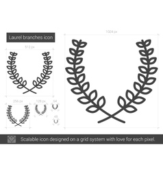 Laurel branches line icon vector