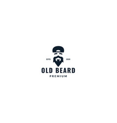 Masculine beard with hat logo design vintage vector