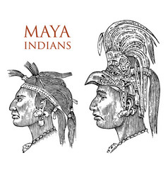 Maya vintage style aztec culture portrait of a vector