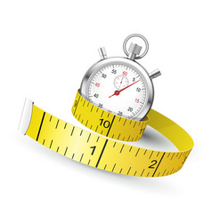 measuring tape entwine stopwatch - diet and vector image