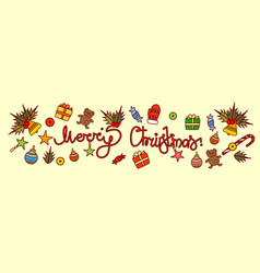 merry christmas text design on new year vector image