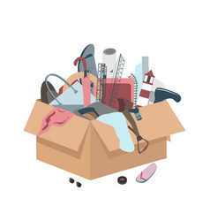 Messy box with useless broken things vector
