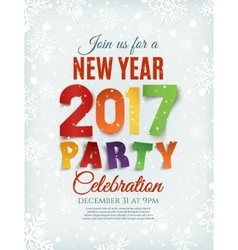 New Year party poster template with snow and vector image