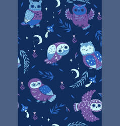 night seamless pattern with owls graphics vector image