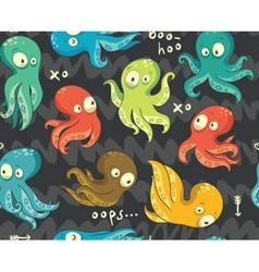 Octopuses in cartoon seamless pattern vector