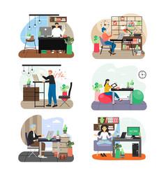 Office scene set flat vector