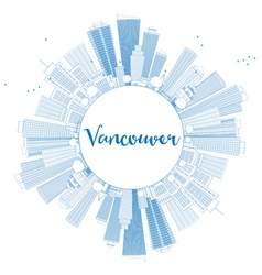 Outline Vancouver skyline with blue buildings vector image