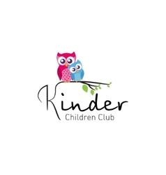 Owls in branch - logo for children club vector
