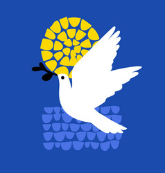 peace day greeting card with flying dove holding vector image