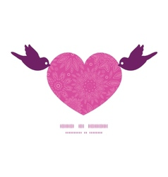 Pink abstract flowers texture birds holding heart vector