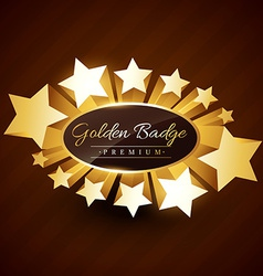premium golden badge design with stars vector image