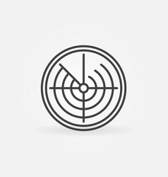 radar display thin line concept round icon vector image