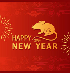 rat year greeting card flat template vector image