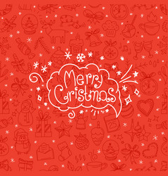 red background with merry christmas logo in vector image