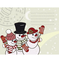 Retro Christmas card with the snowmen family vector image