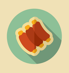 Ribs food meat icon vector