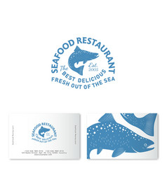 Seafood restaurant logo salmon business card vector