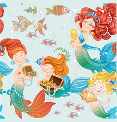 seamless pattern with cute mermaids playing with vector image