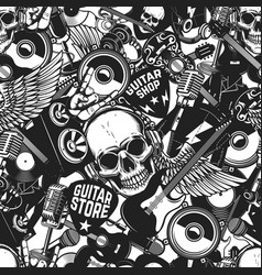 seamless pattern with rock and roll music vector image