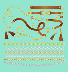 set chains straps and vector image