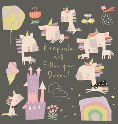 set cute little unicorns and magic elements vector image