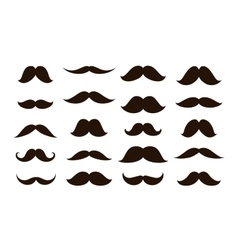 Set mustaches isolated on white background vector