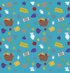 Shavuot holiday flat design icons seamless pattern vector