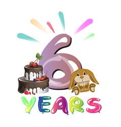 sixth happy birthday congratulations with toys vector image